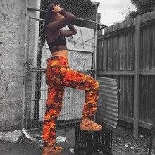 Pants Cargo Women Purple Pink Trousers Orange Hip-Pop Camouflage