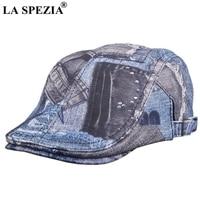 LA SPEZIA Print Flat Cap Unisex Real Sheepskin Leather Blue Duckbill Hat Beret Women Character Designer Spring Men Directors Cap