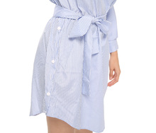 Summer Women Off Shoulder Blue Striped Shirt Short Dress Mini Sexy Side Split Elegant Half Sleeve Waistband Beach Dresses 2018