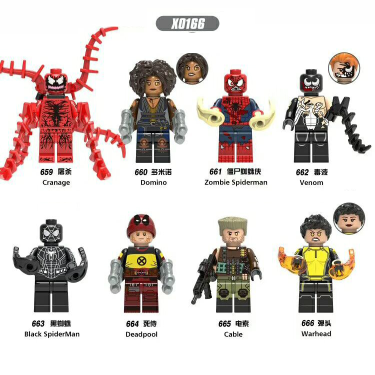 X0166 AvengersING Marvel anime LegoING compatible Super hero Spidermaning Domino venom Deadpooling warhead Building Blocks model