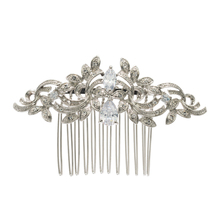 Vintage Silver Plated Women Hairpins Rhinestone Crystals Hair Combs Bridal Wedding Hair Jewelry Accessories 4012r
