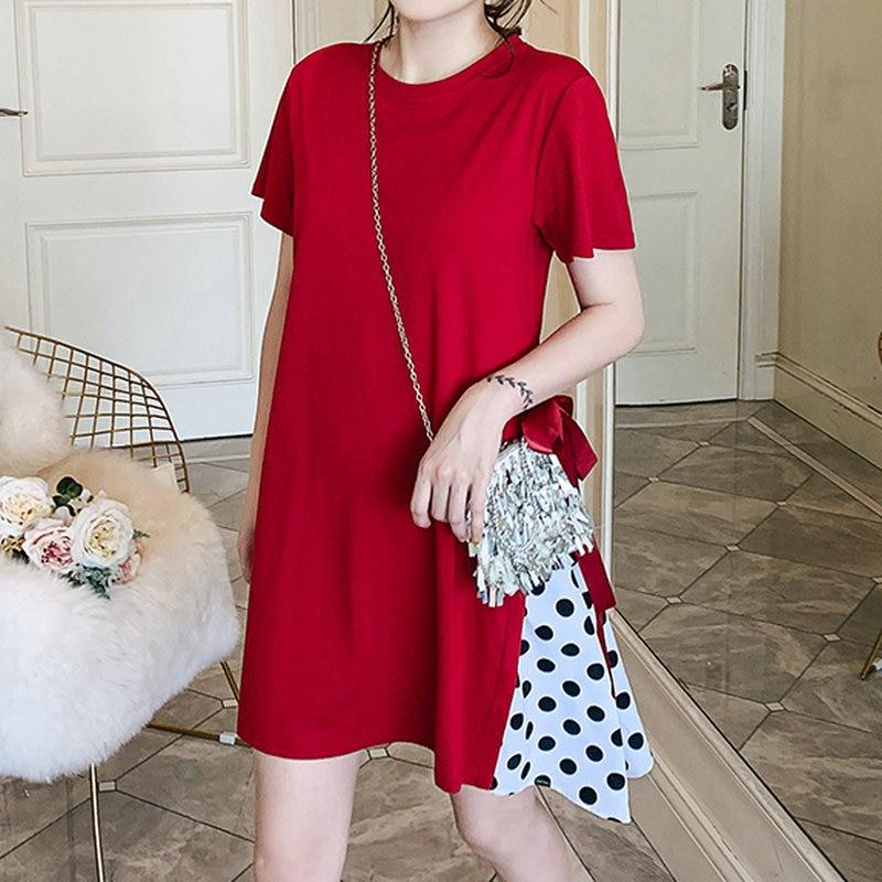 Femme rouge noir à pois motif T-shirt robes femme été quotidien Streetwear mode femme Bowknot grande taille Mini robe 2019