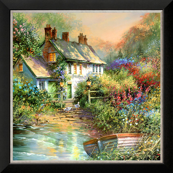 Diamond mosaic full diamond embroidery beads Garden Cottage Boat river diamond cross stitch crystal Square diamond sets unfinish