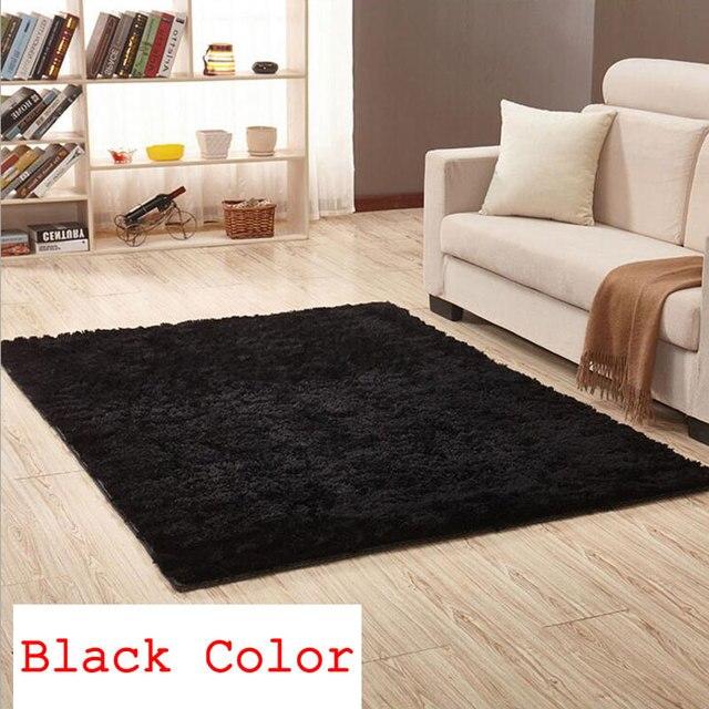 Black 200cm X 300cm Silk Carpets Anti Skid Plush 3 5cm Hair Shaggy