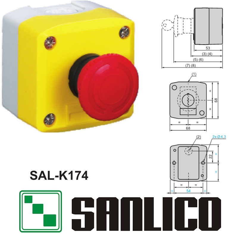 waterproof emergency stop switch control box station mushroom head push button switch SAL(LA68H-K XAL)-K174 turn to releasewaterproof emergency stop switch control box station mushroom head push button switch SAL(LA68H-K XAL)-K174 turn to release
