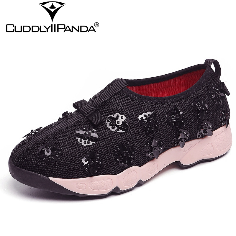 CuddlyIIPanda 2018 Spring Summer Metal Sequined Flowers Women Casual Shoes Luxury Design Air Mesh Sneakers Beaded Flats Zapatos instantarts women flats emoji face smile pattern summer air mesh beach flat shoes for youth girls mujer casual light sneakers