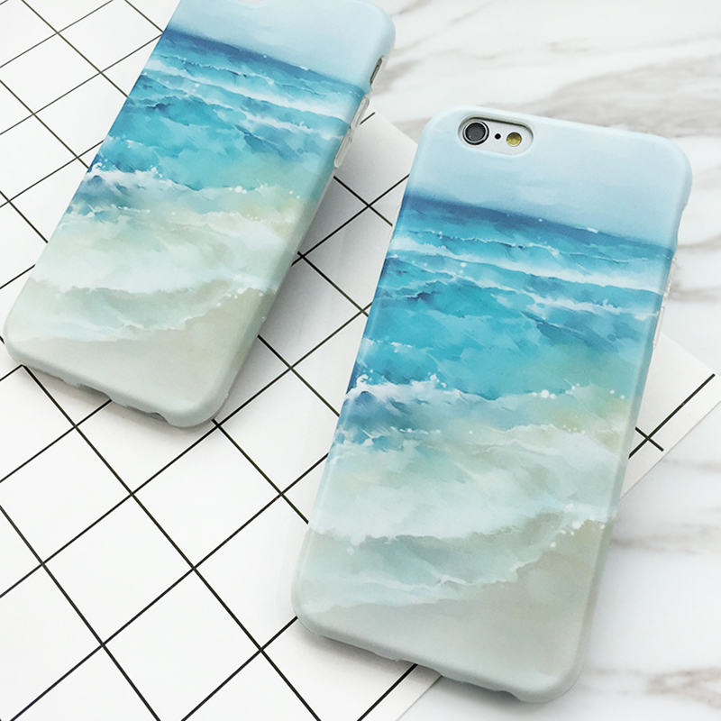 Galleria fotografica SUYACS For iPhone 6 6S 7 8 Plus X 10 Phone Case Summer Blue Sea Beach Soft Silicon IMD Mobile Phone Cases Back Cover Coque