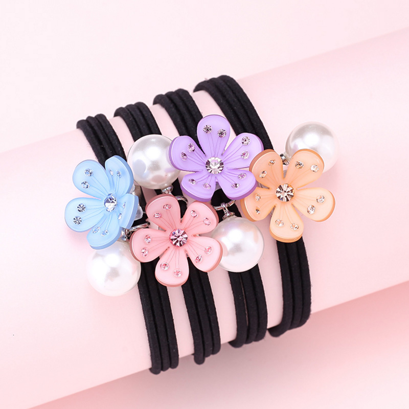 New Fashion Flowe Rubber Band Imitation Pearl Decorative Handmade Braid Hair Jewelry Rope for Girl Ponytail Holder Accessories