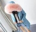 Top qualidade da marca Plus Size 2016 novo casaco jaqueta de inverno mulheres natural real grande pele de guaxinim com capuz mulheres parka grosso quente