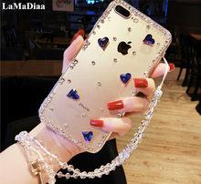 Etui na telefon kształt serca Bling kryształowe diamenty Rhinestone miękka tylna pokrywa dla Samsung S6 S7 S8 S9 S10 S20 Plus Note5 8 9 10 Plus