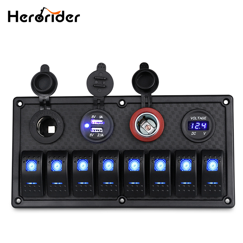Herorider 8 Gang 24V Rocker Switch Panel Control Car Marine Boat Voltmeter Cigarette Lighter Socket Dual USB Charging Car Switch 8 gang rocker switch panel voltmeter 12v 24v dual usb charger cigarette lighter socket boat car rocker waterproof hot