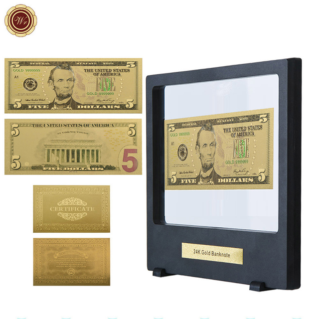 WR USD 5 Dollar 24k Pure Gold Fake Money Birthday Souvenir Gifts Banknote Art Crafts With Showing Stand For Home Decor