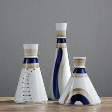 Blue Mediterranean style Creative high quality Ceramic Vase  flower arranger containers Large vases Home Wedding decoration