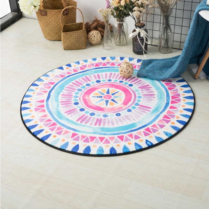 Pink Blue White Geometric Round Carpet Computer Children Kids Room Bedroom Living Room Bathroom Rug Outdoor Garden Play Mats
