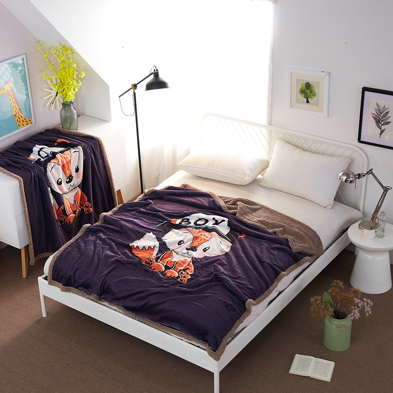 Cute Little Fox Pattern Large Version Of The Floral French Velveteen Double Carpet Bedspread Soft Blanket On The Bed Sofa Travel