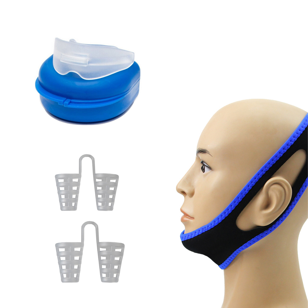 4PCS Anti-Snore Solutions Adjustable Anti Snore Belt Chin Strap Nasal Dilators Mouth Guard