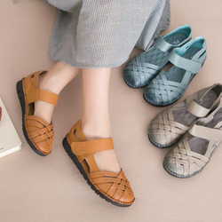 AARDIMI Retro Genuine Leather Women's Sandals Spring Summer Flat Shoes Woman Top Quality Cow Leather Gladiator Sandals Women 1