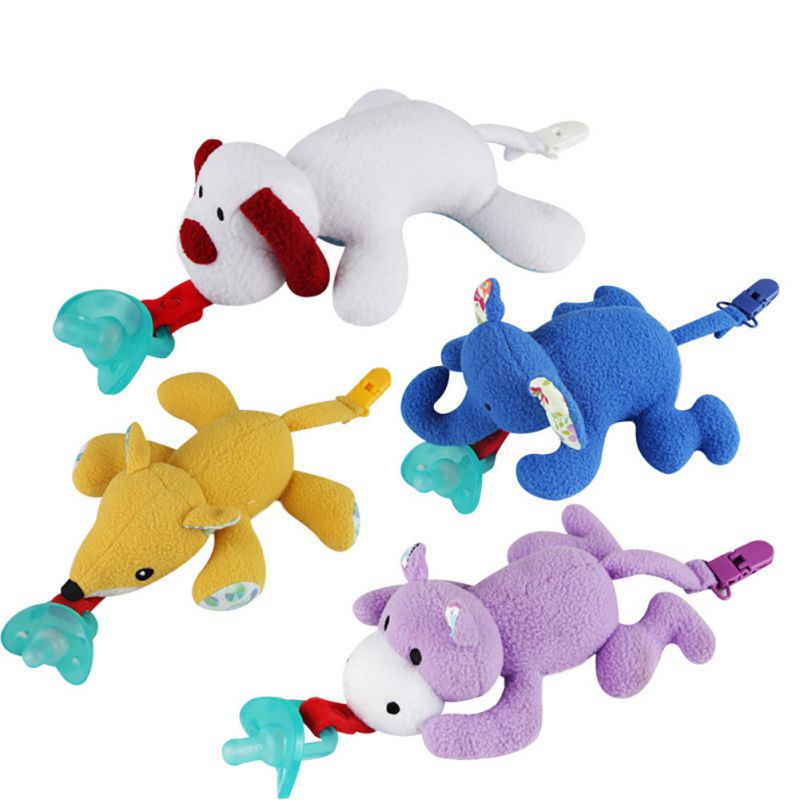 Baby Pacifiers Silicone Cartoon Animal Plush Nipple Soother Toys Toddler Boy Clips Girl Toy Baby Pacifier Clip