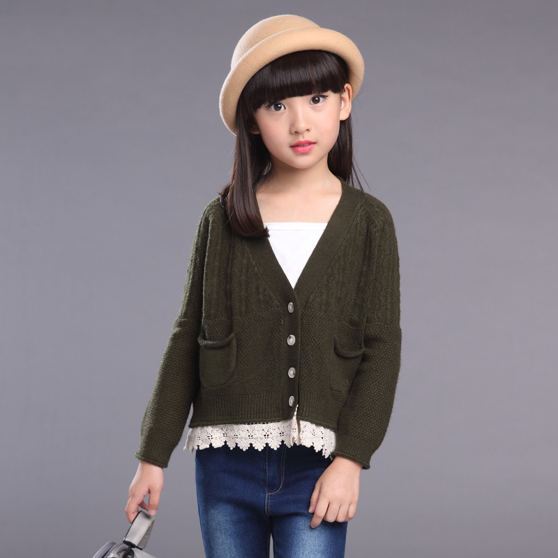 Girls Cardigan V Neck Knitted Sweaters For Girls Clothing Children Outerwear 2 3 4 6 8 10 Years Kids Clothes Top School Uniform