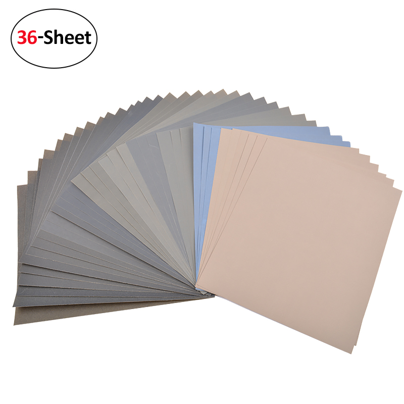 36 Sheets 180 to 7000 Assorted Grit 9x11-Inch Wet and Dry Sanding Paper Wood Furniture Metal Automotive Polishing Abrasive Tool