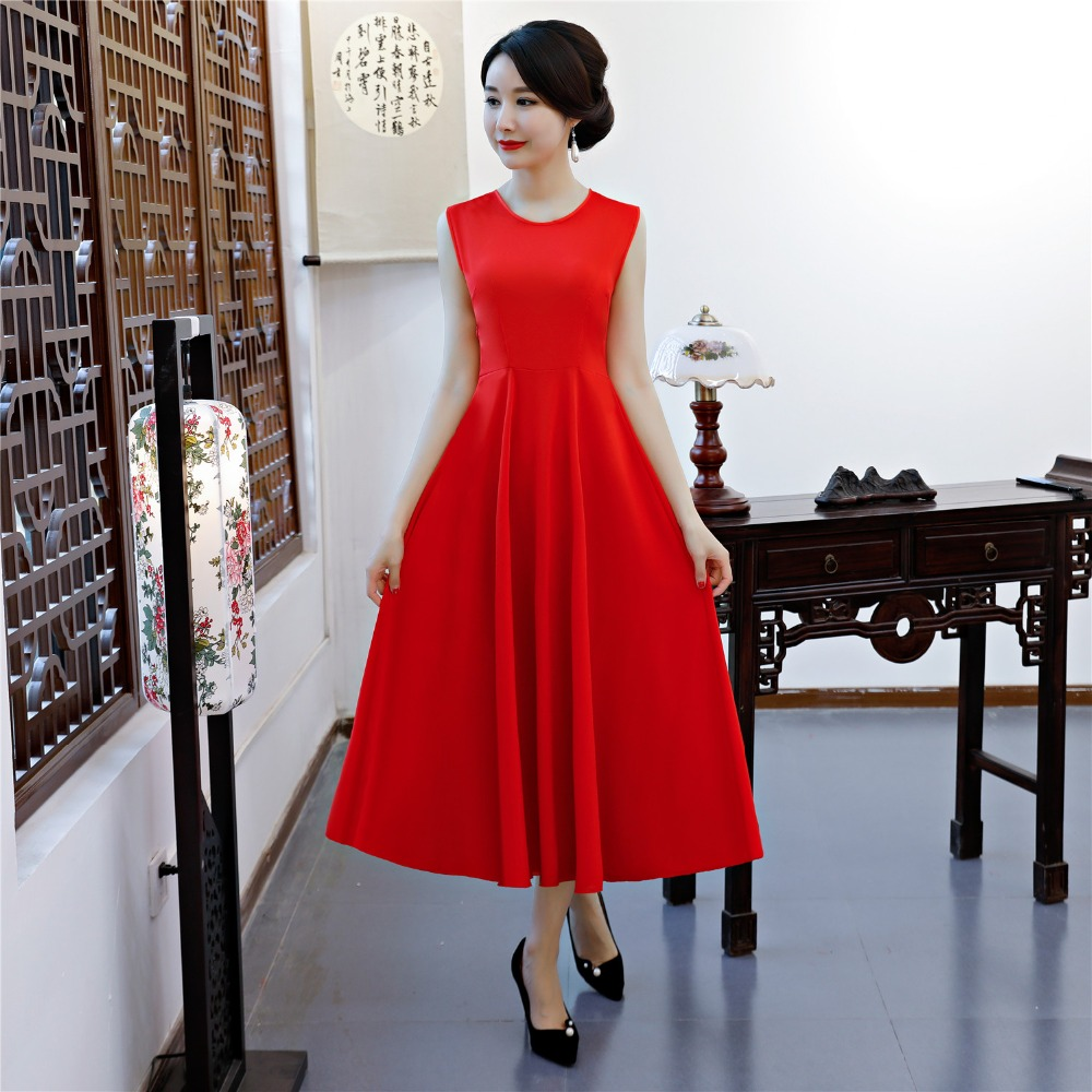 Shanghai Story New Sale Spring Aodai Vietnam Cheongsam Dress For Women Traditional Clothing ao dai Set Red Long qipao like lodka винный шкаф