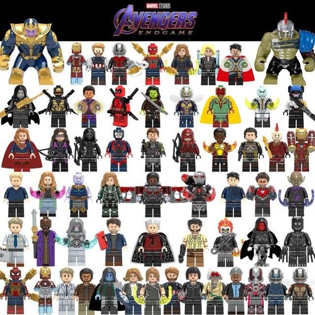 Venda quente Homem Vespa Formiga Vingadores Capitão Marvel Super Hero Figuras LegoED Spiderman Building Blocks Iluminai Brinquedo Pantera Negra