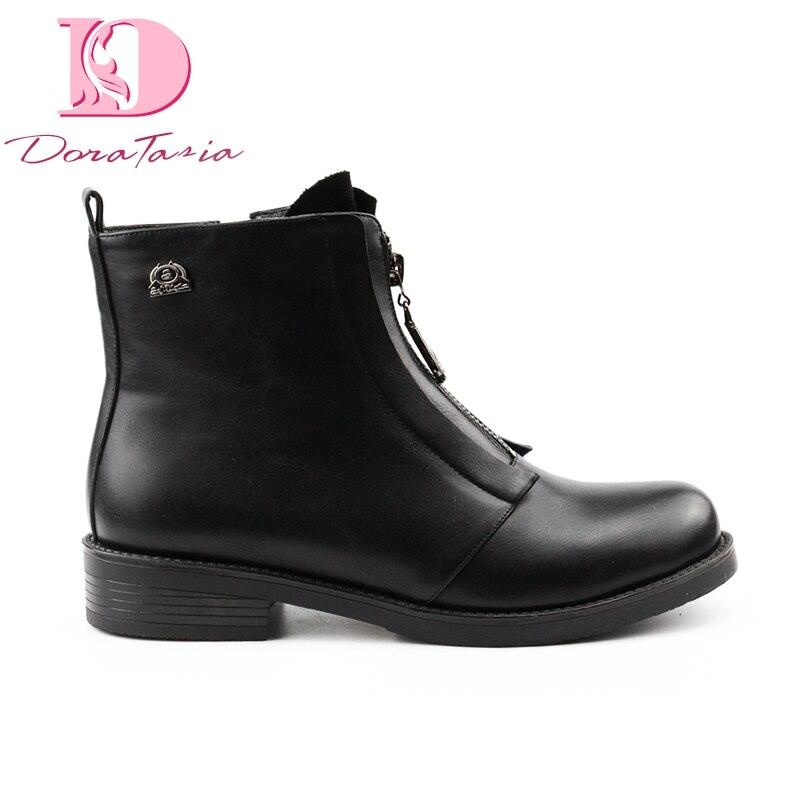 DoraTasia 2019 grande taille 42 talons carrés Zip up femmes chaussures hiver bottines Ins Style plate-forme bottes noires
