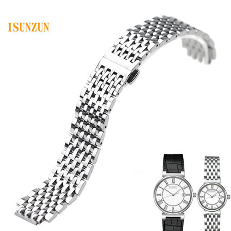 цены ISUNZUN Watch Band Men's Bracelet For MIDO M1130 M2130 Watch Strap Brand Stainless Steel Watchbands For Women Quality Watchband