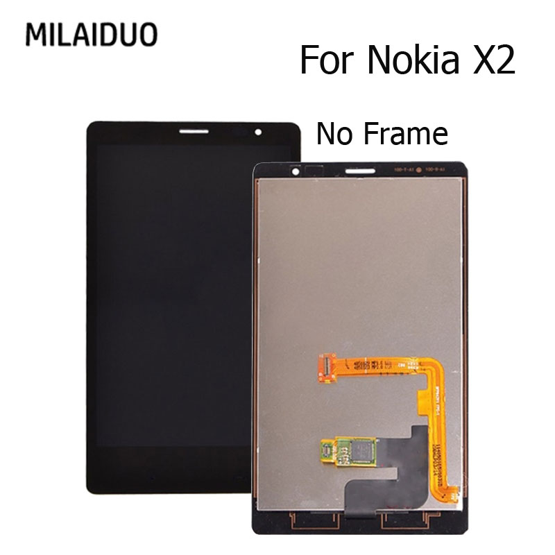 LCD Display For <font><b>Nokia</b></font> X2 RM-<font><b>1013</b></font> RM-1014 Touch Screen Digitizer Black No Frame Full Assembly Replacement New 4.3