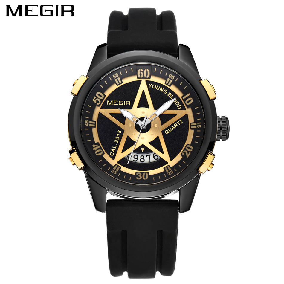 MEGIR Men's Casual Watch Waterproof Military Sport Watch ...