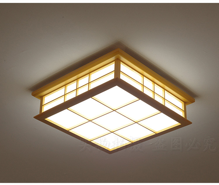 Japanese Style Delicate Crafts Wooden Frame Led Ceiling Light Luminarias Para Sala Dimming Led Ceiling Lamp Punctual Timing Lights & Lighting