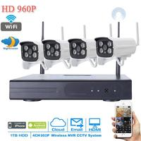 NEW 4CH DIY Waterproof Wireless NVR Kit 960P HD IR Night Vision Security IP Camera WIFI