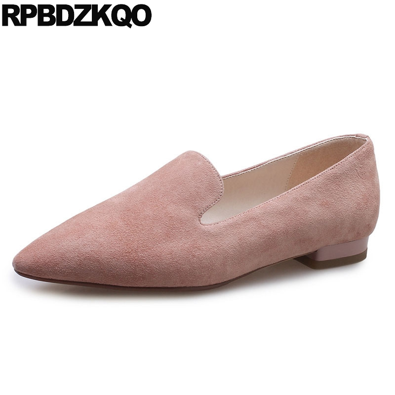 Soft Ballet Flats Women Pink Loafers Work Drop Shipping Suede Pointed Toe Slip On Black Ladies Shoes 2018 Designer Spring Autumn odetina 2017 new women pointed metal toe loafers women ballerina flats black ladies slip on flats plus size spring casual shoes