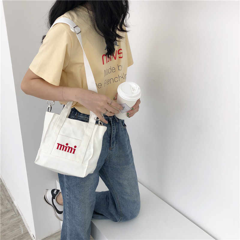 dfb1f3661c5 Women Embroidery MINI Letter Handbags Messenger Canvas White Bag Girls  Student Tote Bag Brand Square Wide Shoulder Strap Bags