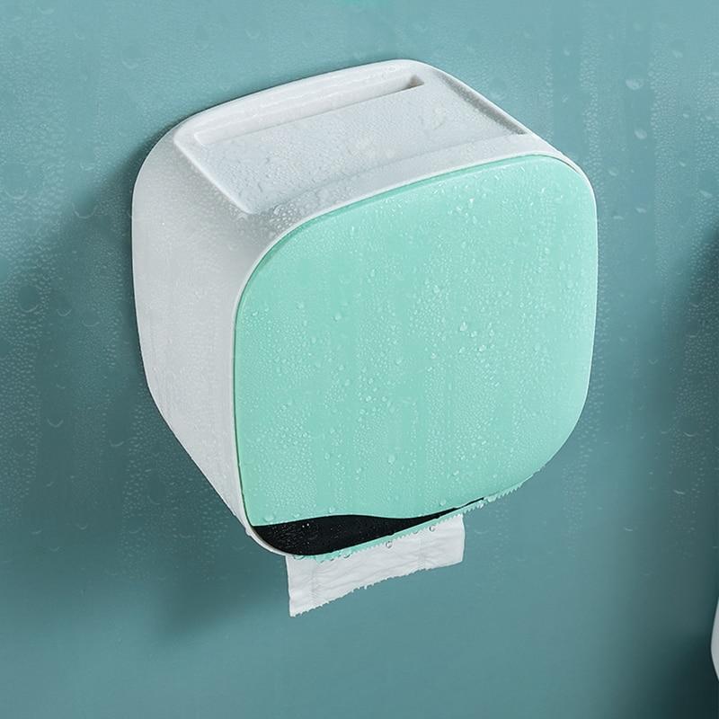 Wall Mount Toilet Paper Holder Shelf Tissue Box Waterproof Toilet Paper Tray Roll Paper Tube Bathroom