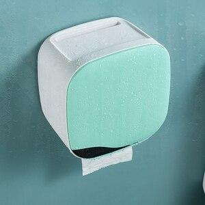 Image 4 - Wall Mount Toilet Paper Holder Shelf Tissue Box Waterproof Toilet Paper Tray Roll Paper Tube Bathroom Storage Box Organizer