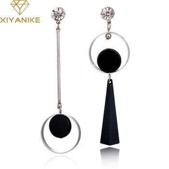 Korean Fashion Geometric Long Asymmetry Rhinestone Circle Earring