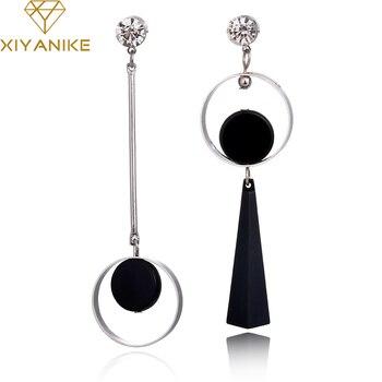 XIYANIKE Korean Fashion Geometric Long Asymmetry Earring Rhinestone Circle Ear Stud New Acrylic Big Earrings Bijoux Brincos E203
