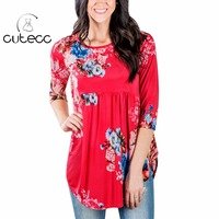 BOHO Style Women Summer 3 4 Sleeve Floral Print T Shirts Casual Loose Femininas O Neck