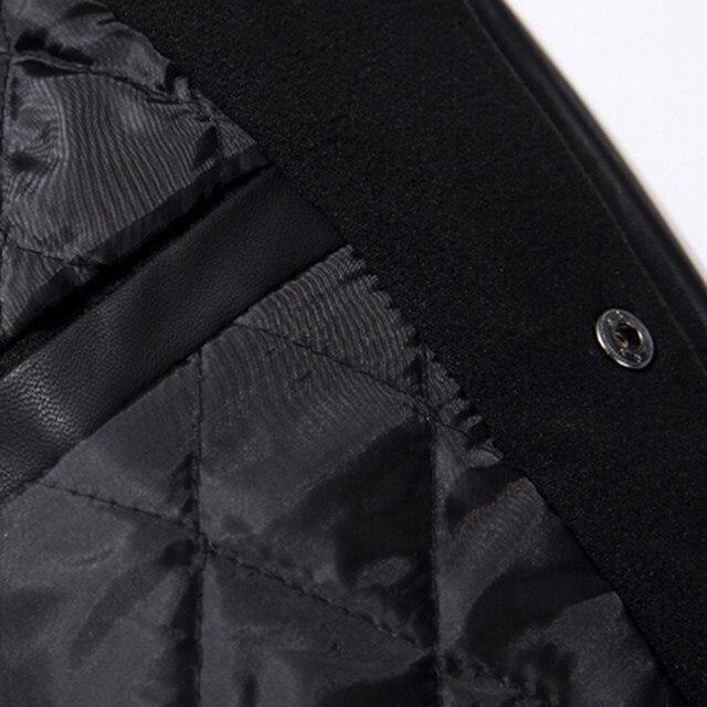 Online Shop School Team Uniform Men Black Leather Sleeves College