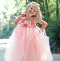 Gorgeous Princess Flower Girl Dress With Coral Pink Peals Flower Floor Length Girl Prom Dress for Wedding Party
