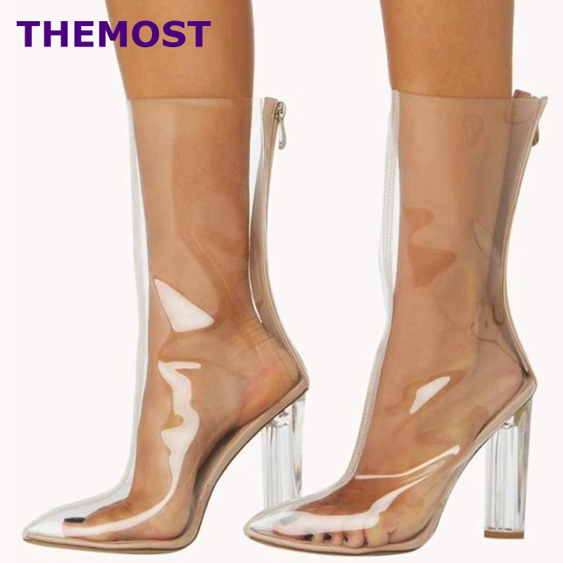 HOT SALE!!! New Women PVC ankle Boots Pointed toe crystal heel Transparent Women Boots Clearheels Shoes Summer shoes Big size hot sale pvc transparent sandals for women ankle strap crystal clear chunky heels sandalias mujer women shoes plus big size