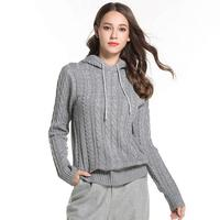 Women Hooded knitted Sweaters casual long sleeve Pullovers 2018 Autumn Winter Knitted jumpers Female knitwear r119