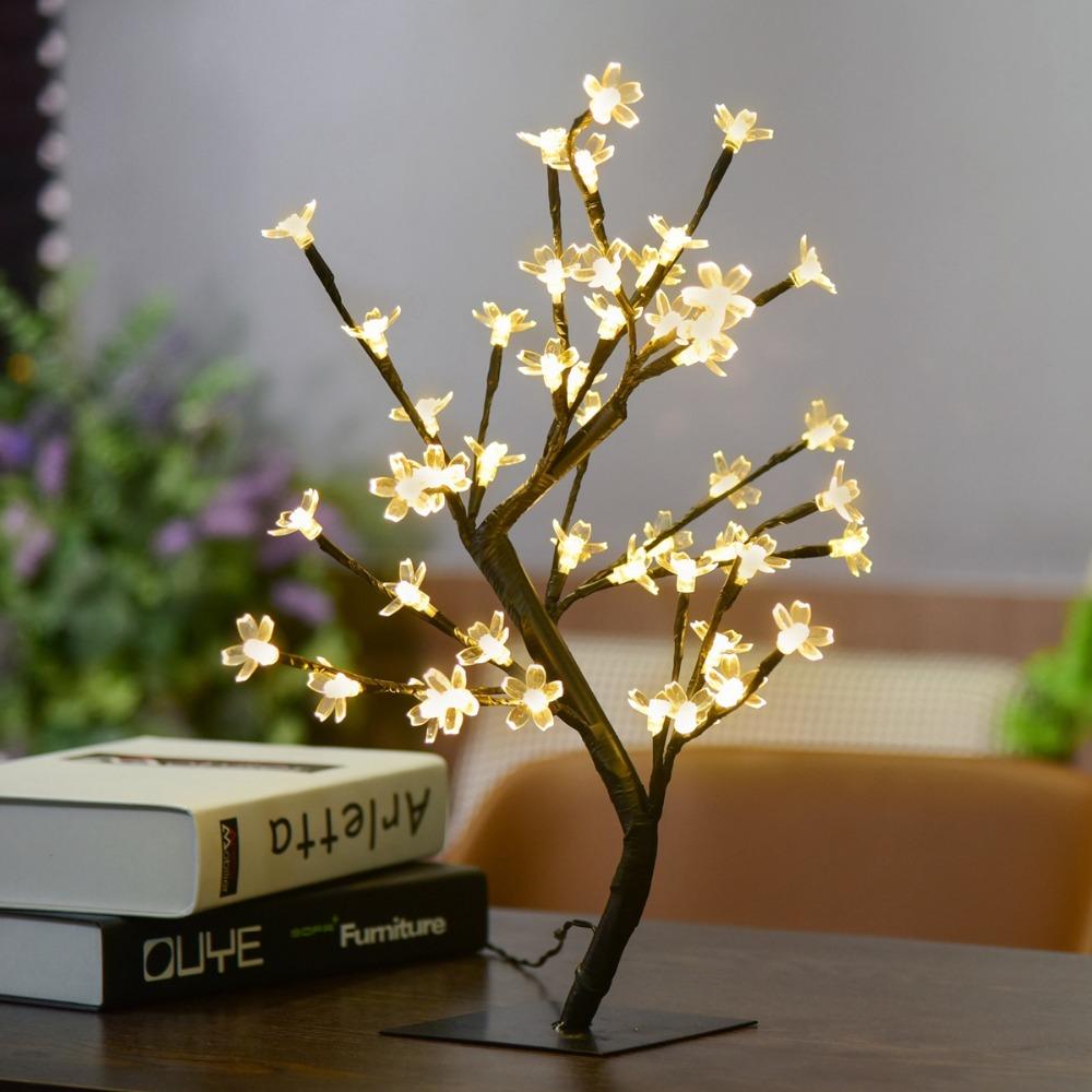 1x Crystal Cherry Blossom 48 Led Tree Light Night Lights Table Lamp