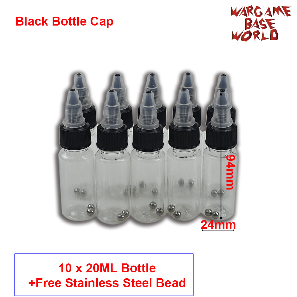 Black Bottle Cape - Model Paint Mixing Bottle Painting Storage Bottles With Mixing Stainless Steel Ball Hobby