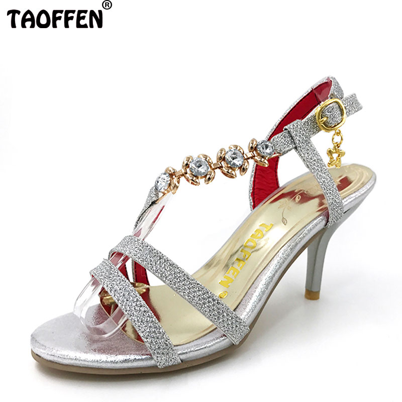 TAOFFEN Plus Size 31-48 New Arrival Hot Sale Summer Office Women High Heel Sandals Casual Buckle Strap Woman Shoes P18485 lanyuxuan 2017 new hot sale sandals