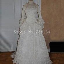 Готический викторианский эдвардианская усадьба суматоха белое платье королевы елизаны платье определенного исторического периода Habit Театральный Костюм