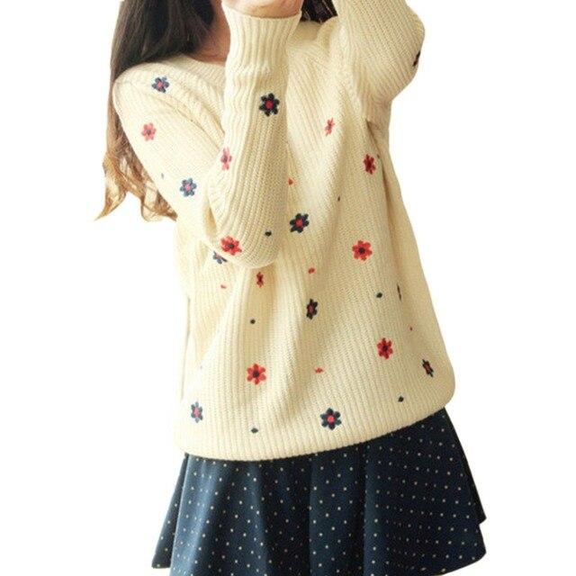 Осень 2016 мода цветок бренд печатные Top Shop женщин свитер о-образным с длинным рукавом широкий пуловеры трикотаж топы