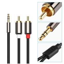 цена на 1PCS Audio Cable 2RCA to 3.5 Audio Car Cable RCA 3.5mm Jack Male to Male RCA AUX Cable for Phone Headphone