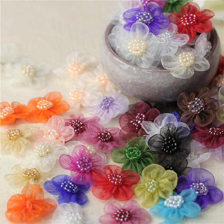 purple satin jewel flower 4.5cm kids glue on Sew on Applique Motif Patch trim